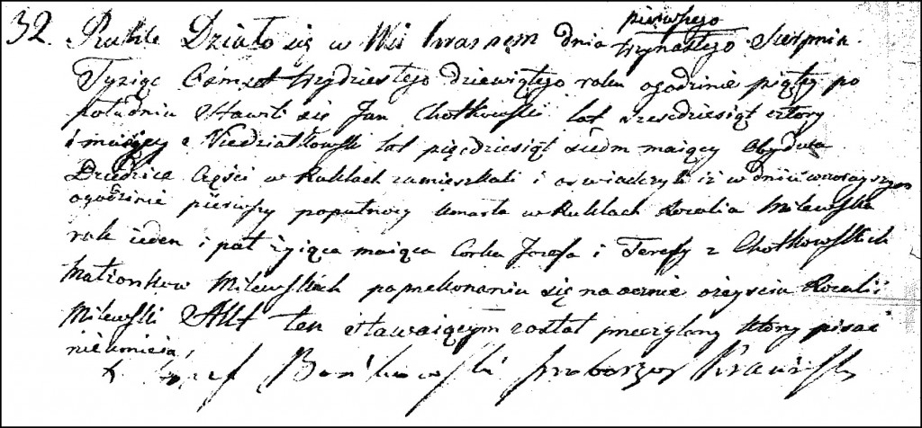 The Birth and Baptismal Record of Rozalia Milewska - 1839