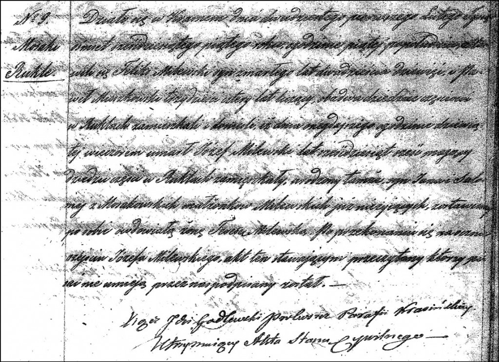 The Death and Burial Record of Józef Milewski – 1865