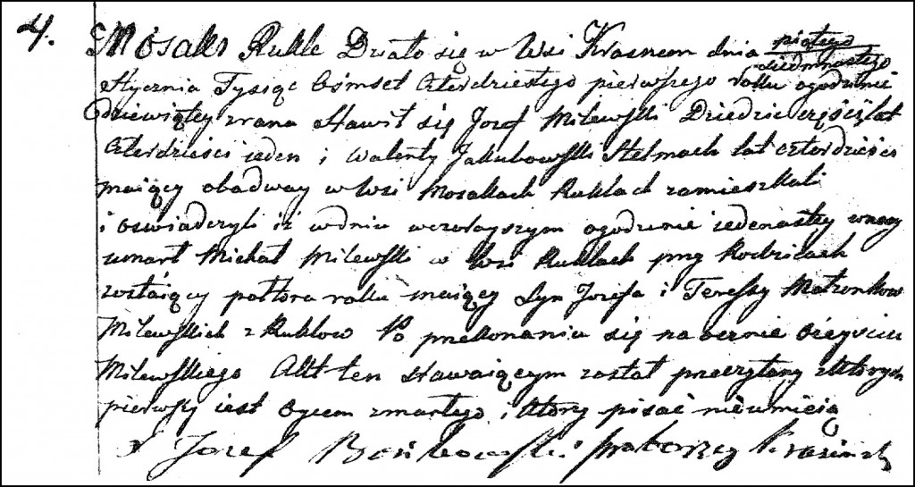 The Death and Burial Record of Michał Milewski - 1841