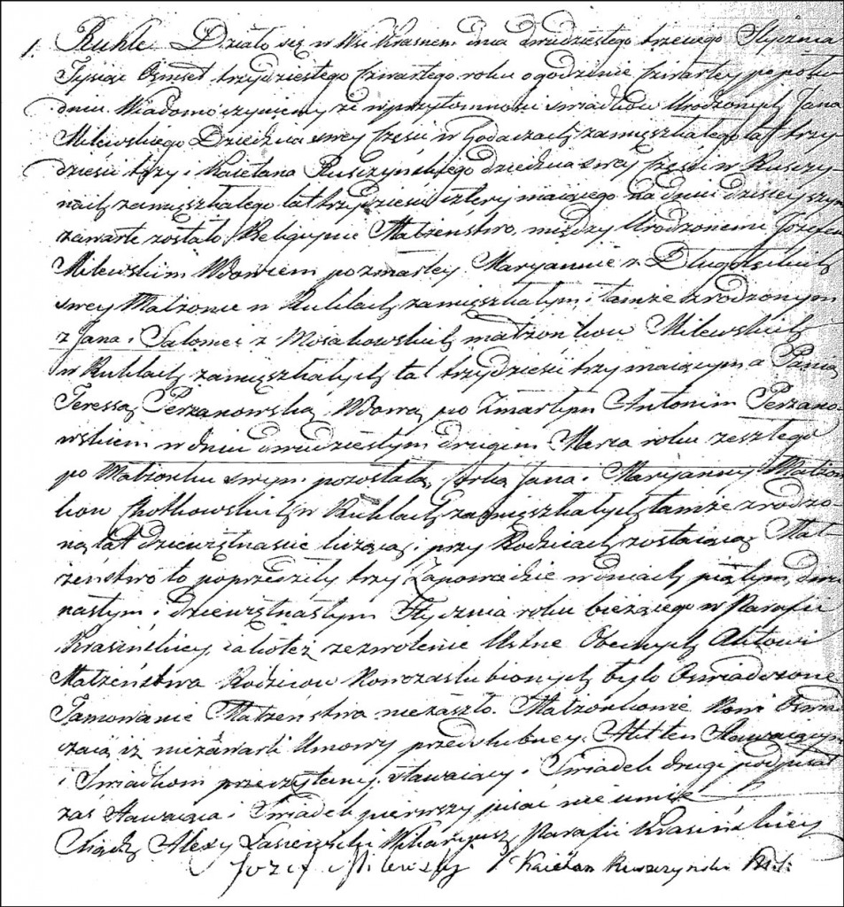 The Marriage Record of Józef Milewski and Teresa née Chodkowska Perzanowska - 1834