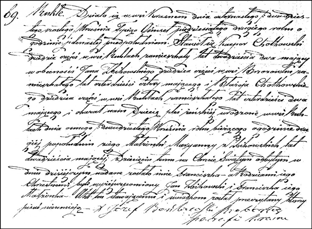 The Birth and Baptismal Record of Franciszka Chodkowska – 1852
