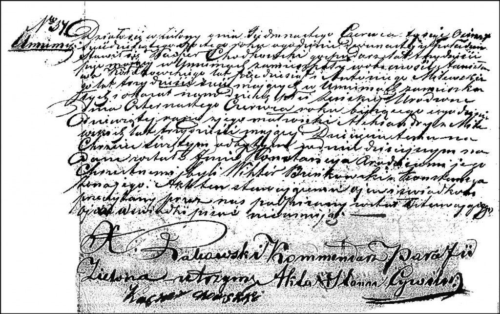 The Birth and Baptismal Record of Konstancja Chodkowska – 1866