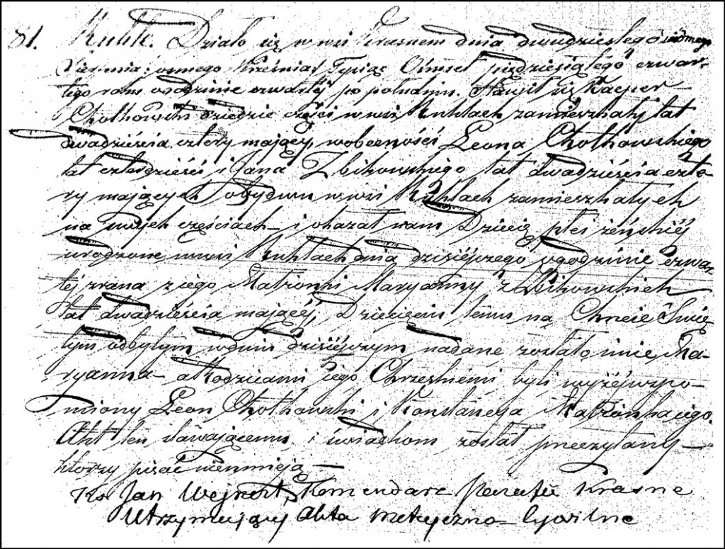 The Birth and Baptismal Record of Marianna Chodkowska – 1854