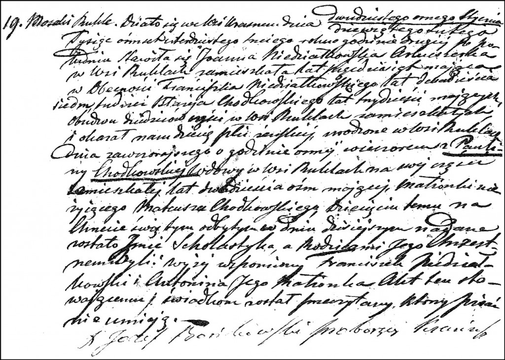 The Birth and Baptismal Record of Scholastyka Chodkowska – 1843