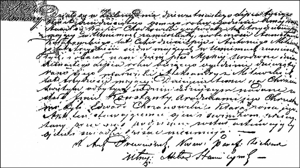 The Birth and Baptismal Record of Konstanty Chodkowski – 1868