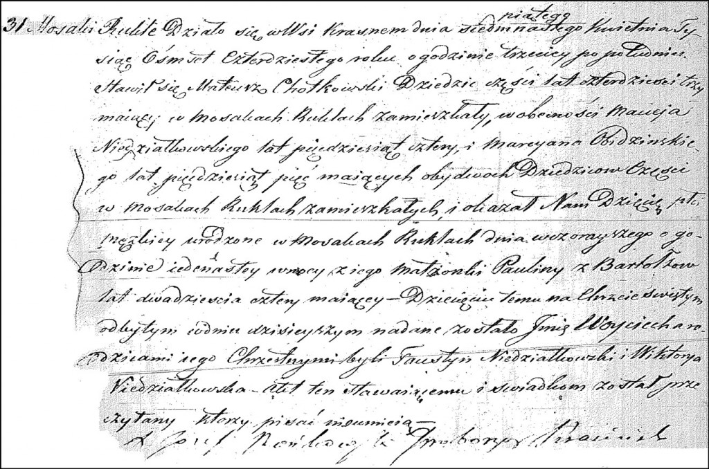The Birth and Baptismal Record of Wojciech Chodkowski – 1840