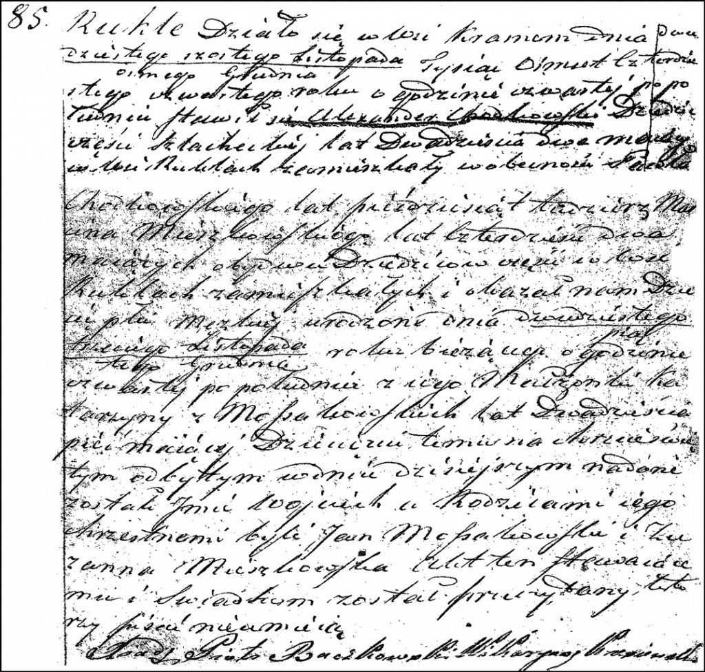 The Death and Burial Record of Wojciech Chodkowski – 1845