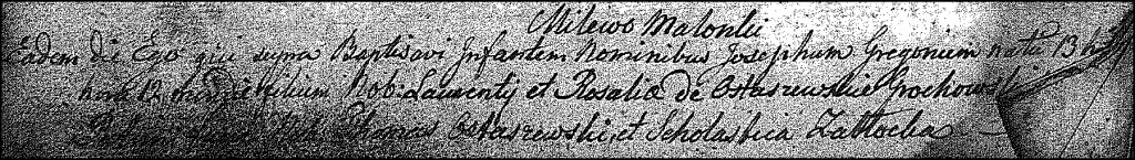 The Birth and Baptismal Record of Józef Grzegorz Grochowski – 1824