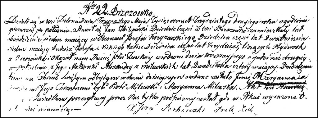 The Birth and Baptismal Record of Marianna Żbikowska – 1832