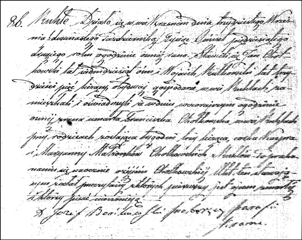 The Death and Burial Record of Franciszka Chodkowska – 1852