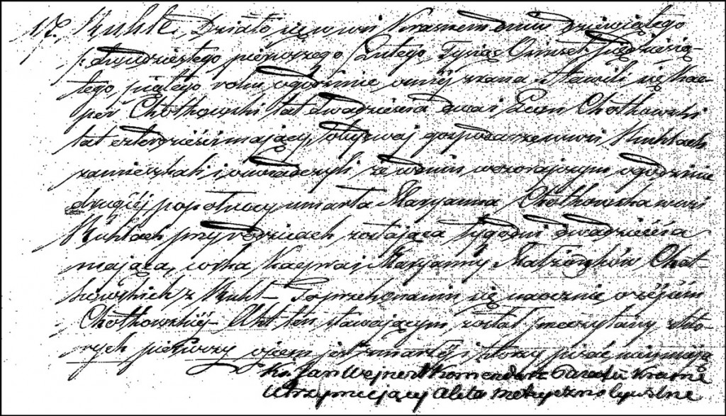 The Death and Burial Record of Marianna Chodkowska – 1855
