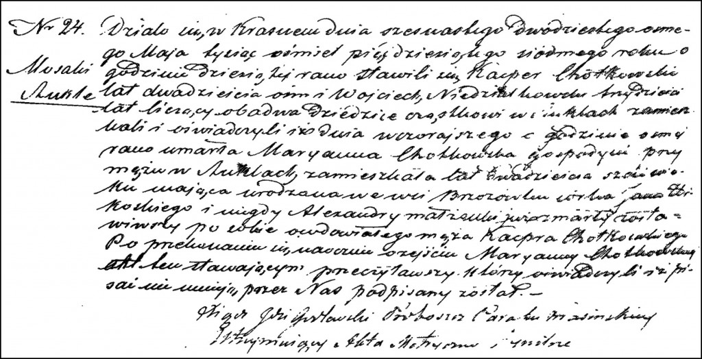The Death and Burial Record of Marianna née Żbikowska Chodkowska – 1857