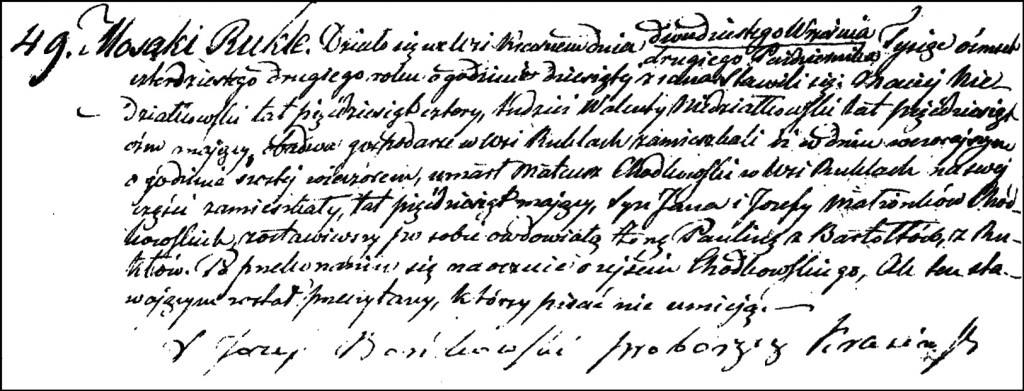 The Death and Burial Record of Mateusz Chodkowski – 1842