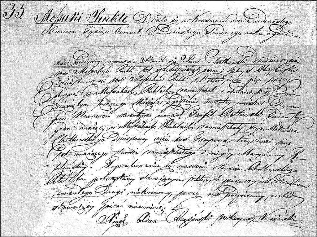 The Death and Burial Record of Teofil Chodkowski – 1842