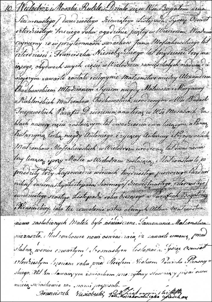 The Marriage Record of Aleksander Chodkowski and Katarzyna Mossakowska – 1843