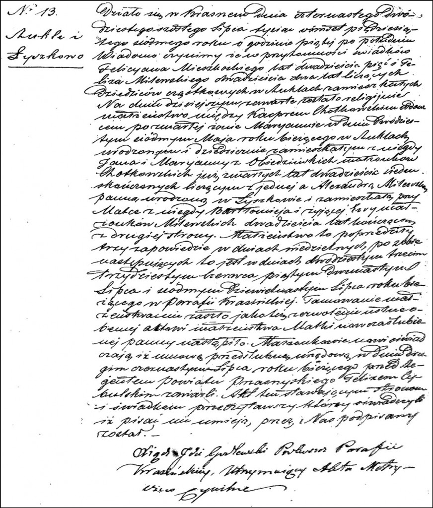 The Marriage Record of Kacper Chodkowski and Aleksandra Milewska – 1857
