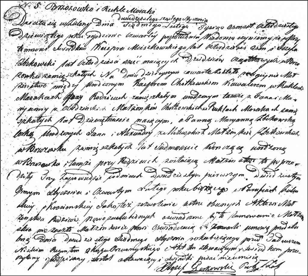 The Marriage Record of Kacper Chodkowski and Marianna Żbikowska – 1849