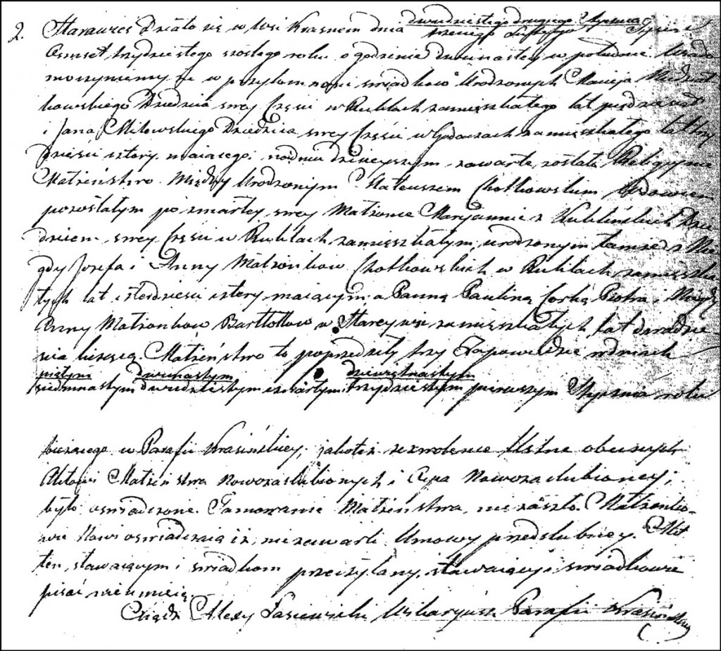 The Marriage Record of Mateusz Chodkowski and Paulina Bartołd – 1857