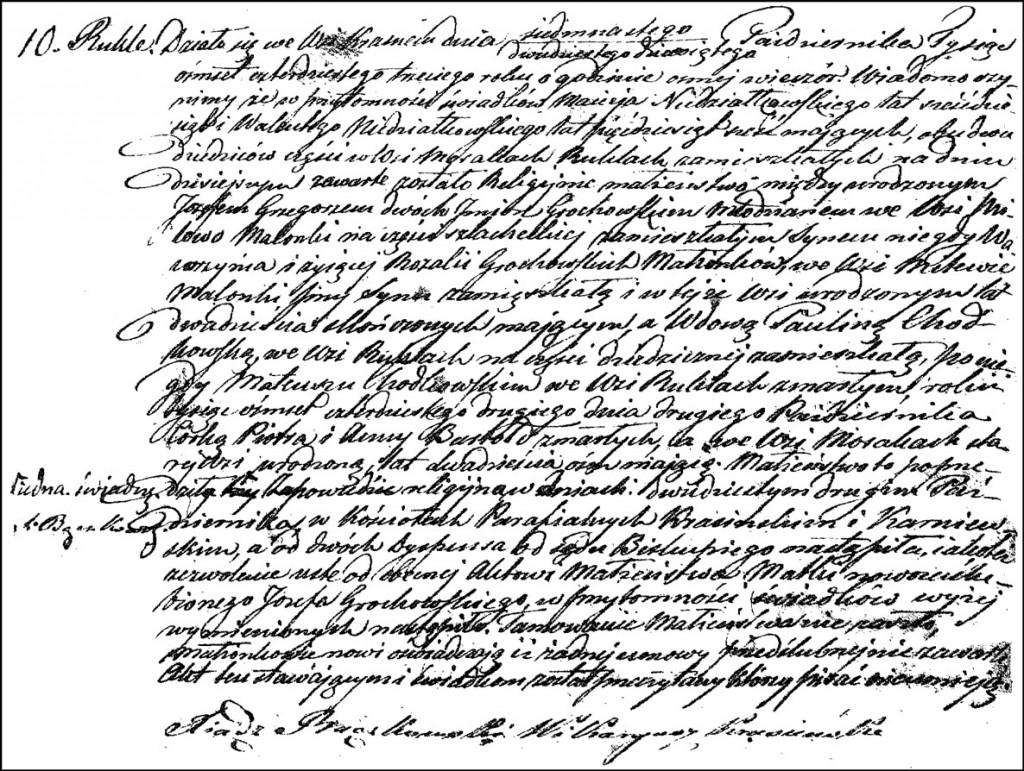 The Marriage Record of Józef Grzegorz Grochowski and Paulina née Bartołd Chodkowska – 1843