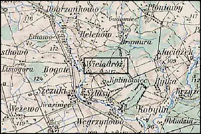 Austrian Military Map of the Wielodróz Area – 1910