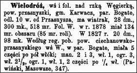 Słownik Geograficzny Entry for Wielodróz