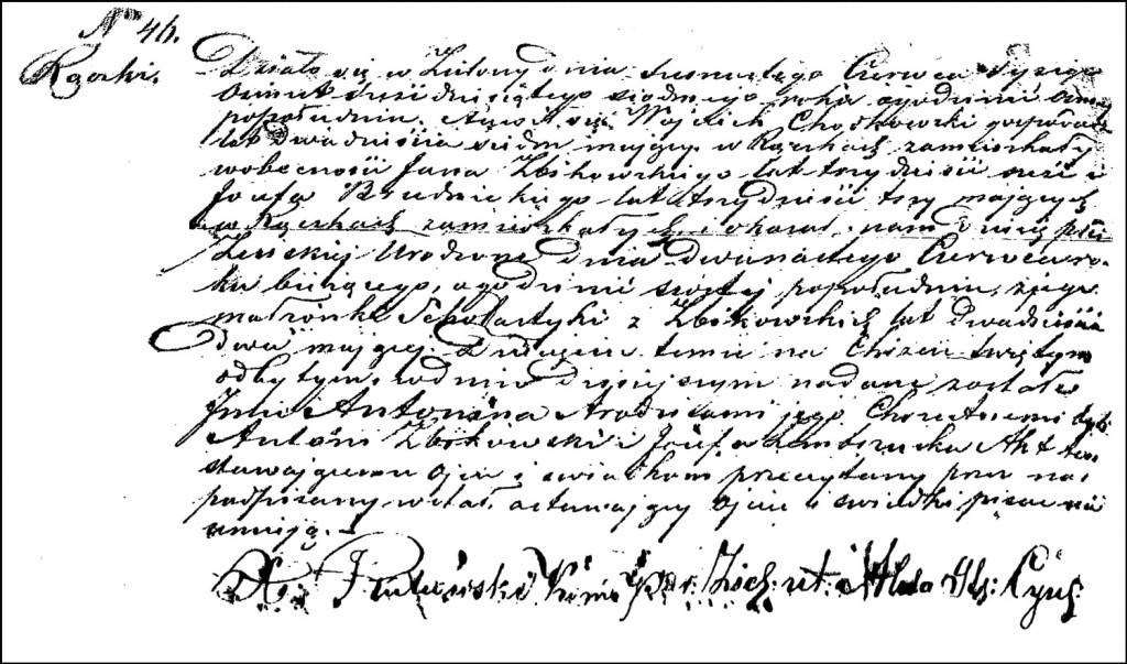 The Birth and Baptismal Record of Antonina Chodkowska – 1862