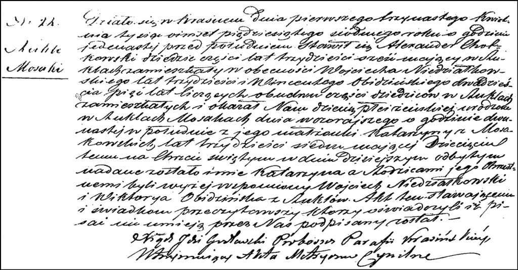 The Birth and Baptismal Record of Katarzyna Chodkowska – 1857