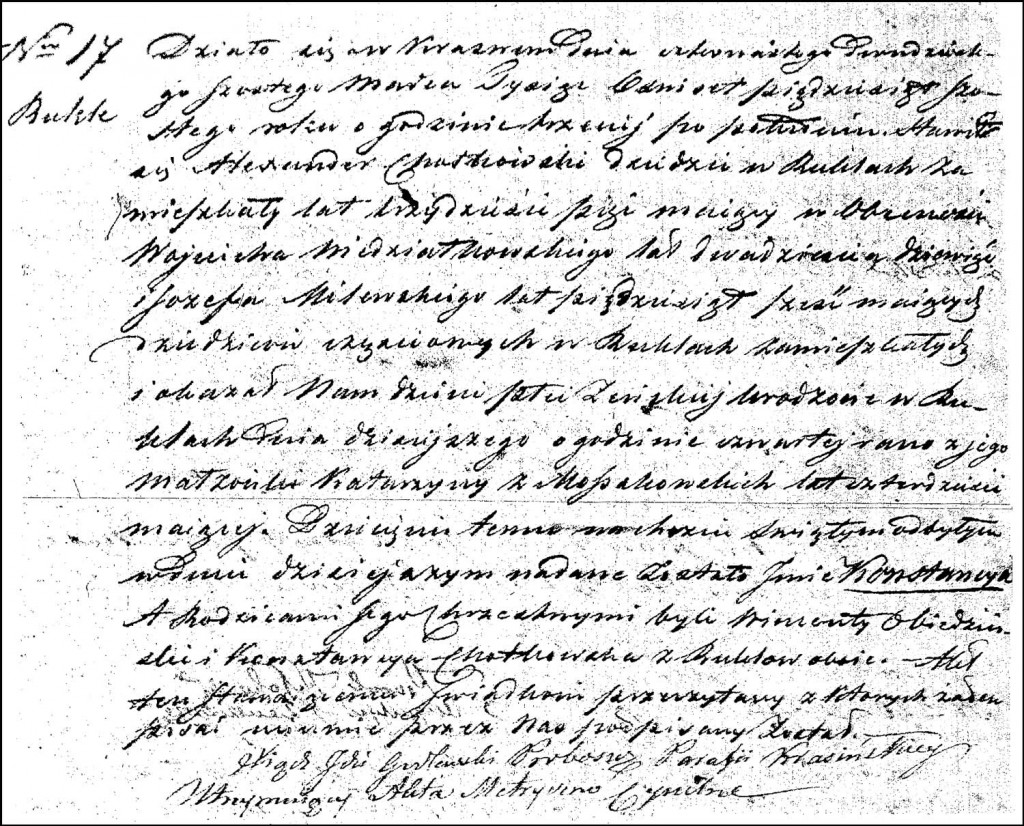 The Birth and Baptismal Record of Konstancja Chodkowska – 1856