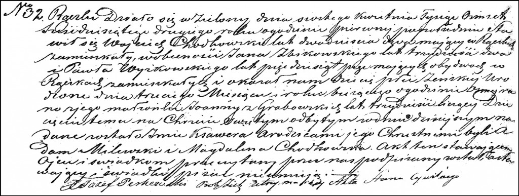 The Birth and Baptismal Record of Ksawera Chodkowska – 1862