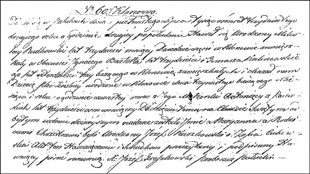 The Birth and Baptismal Record of Marianna Chodkowska – 1832