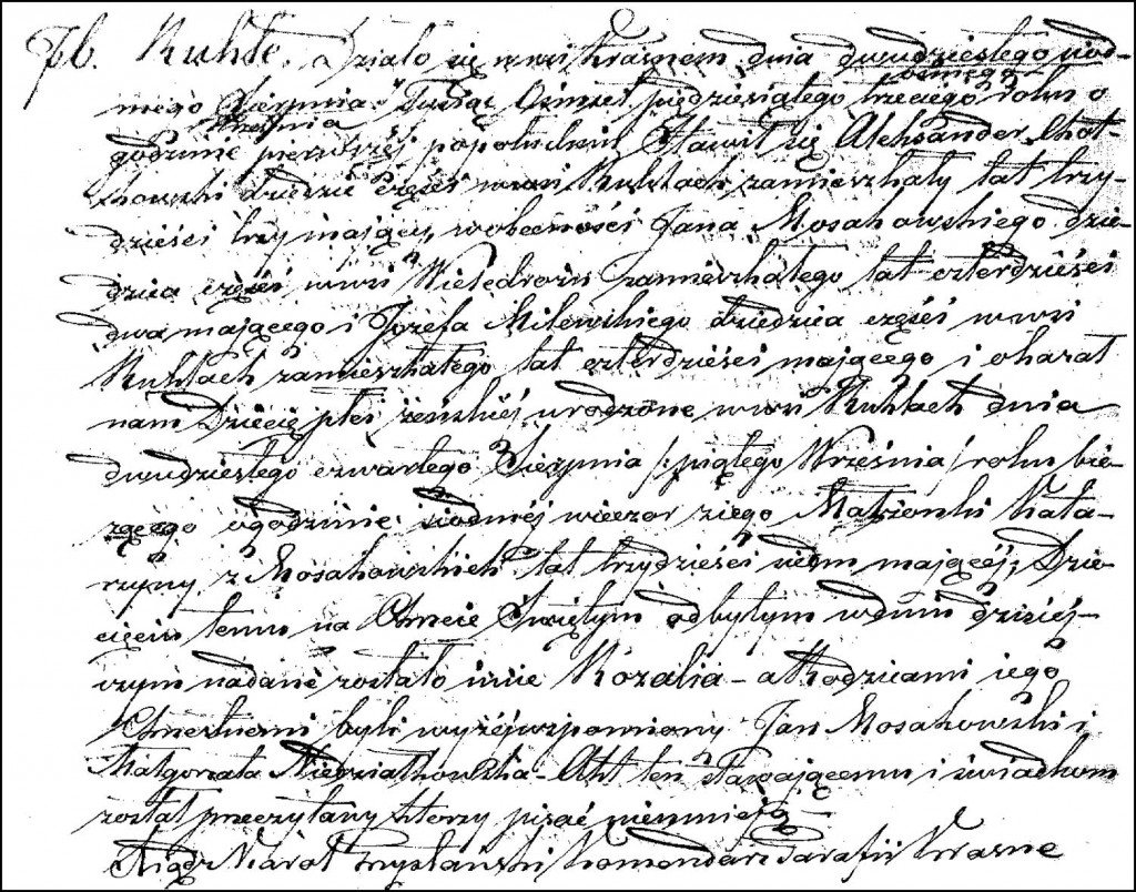 The Birth and Baptismal Record of Rozalia Chodkowska – 1853