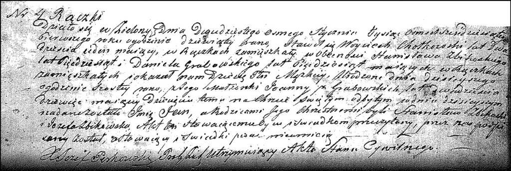 The Birth and Baptismal Record of Jan Chodkowski – 1861