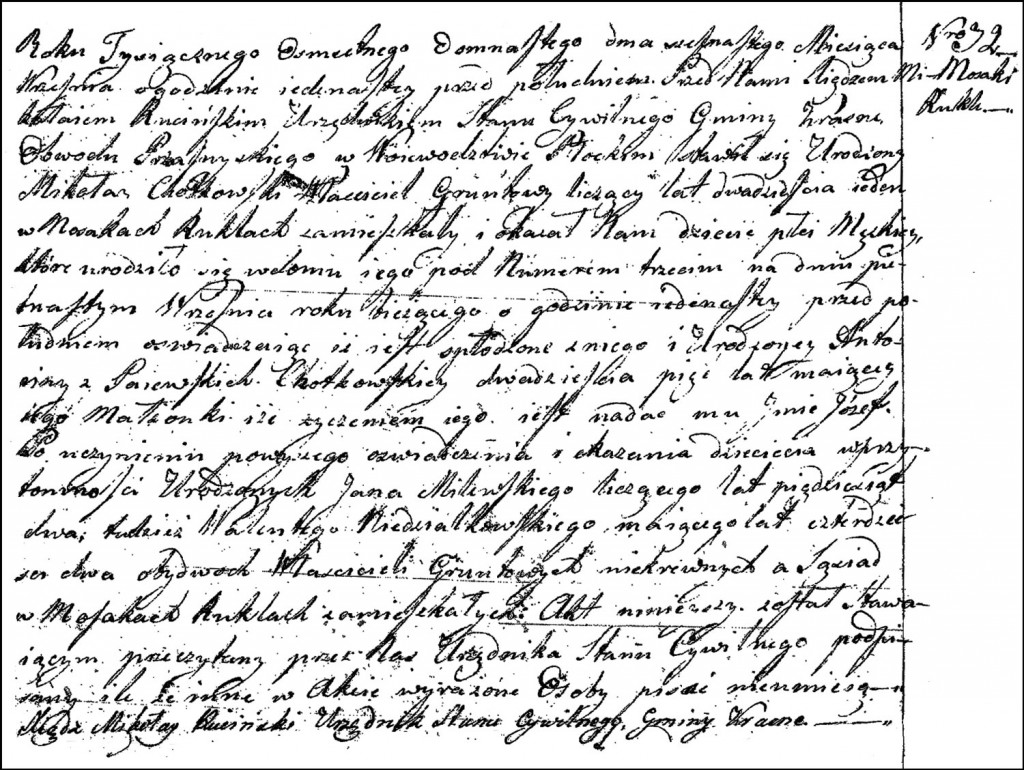 The Birth and Baptismal Record of Józef Chodkowski – 1818