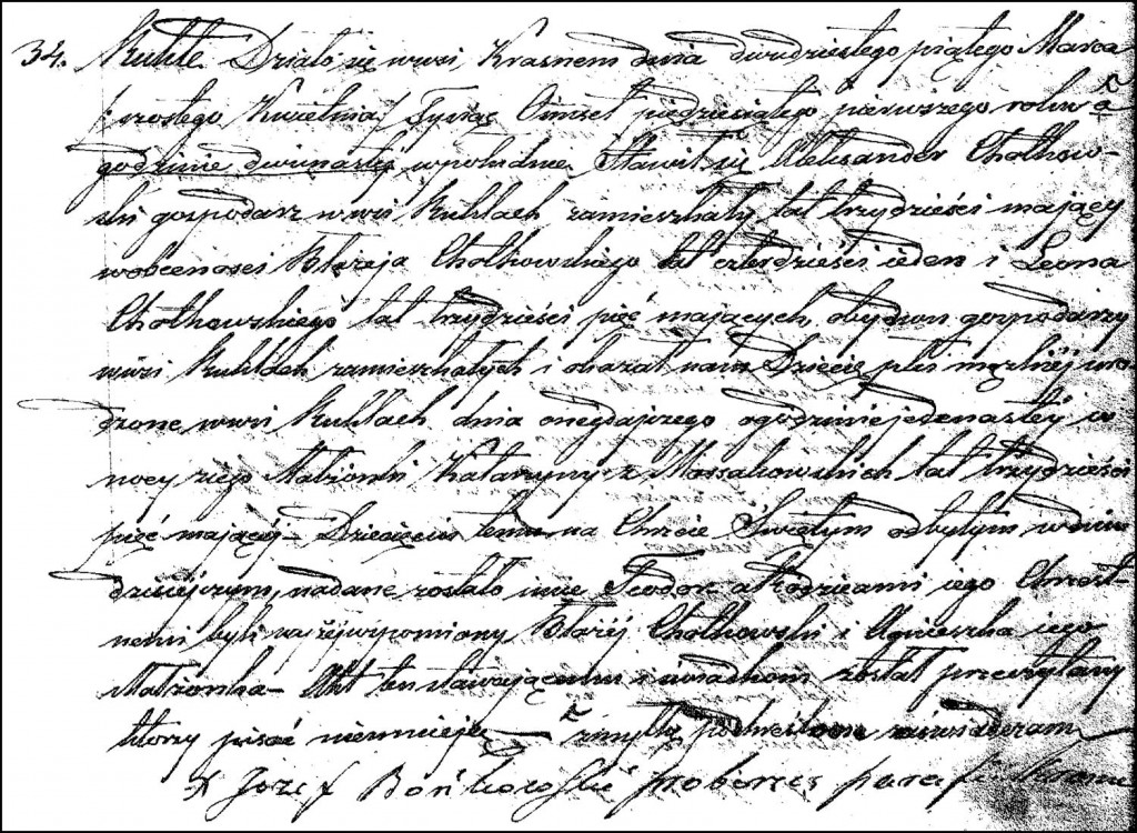 The Birth and Baptismal Record of Teodor Chodkowski – 1851