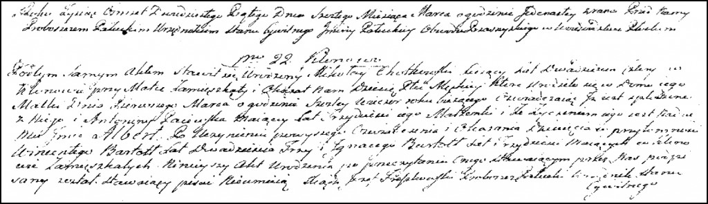 The Birth and Baptismal Record of Wojciech Chodkowski – 1825
