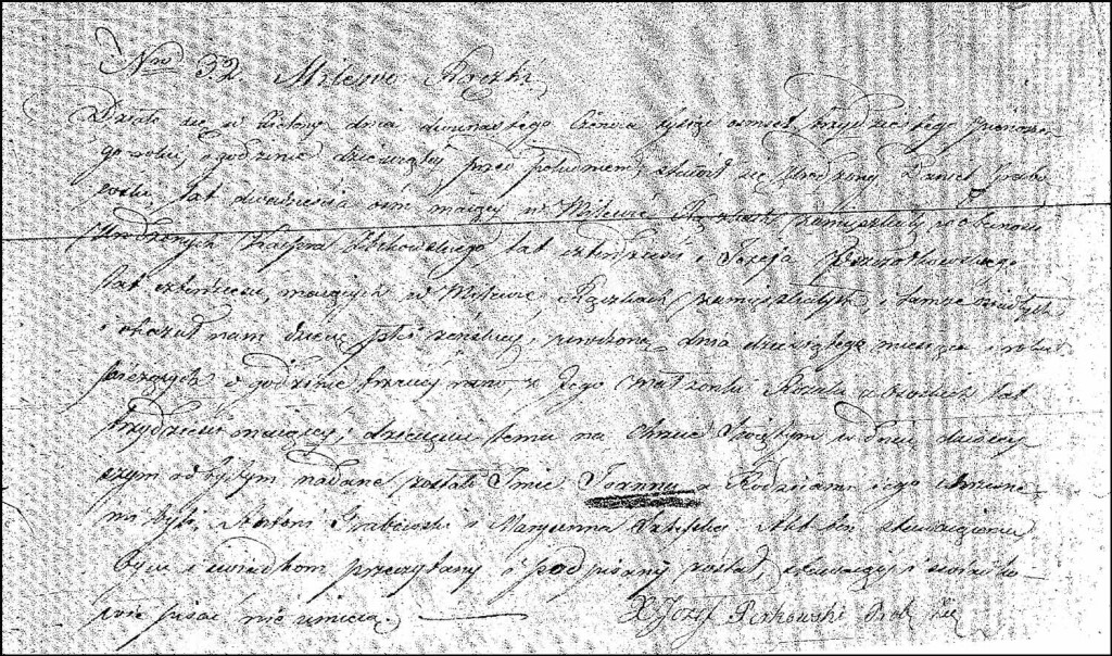 The Birth and Baptismal Record of Joanna Grabowska – 1831
