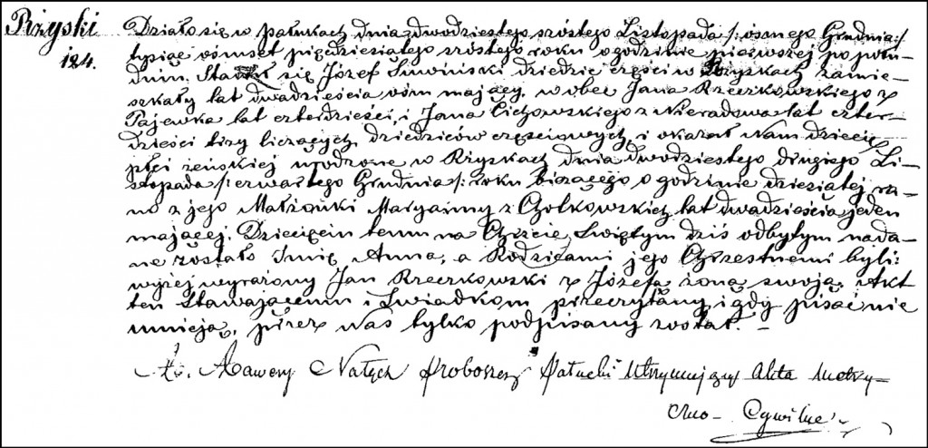 The Birth and Baptismal Record of Anna Suwińska – 1856