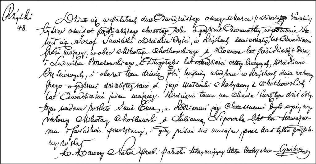 The Birth and Baptismal Record of Ewa Suwińska – 1854