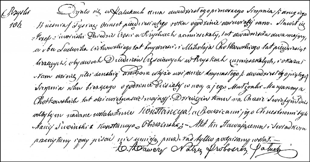 The Birth and Baptismal Record of Konstancja Suwińska – 1850
