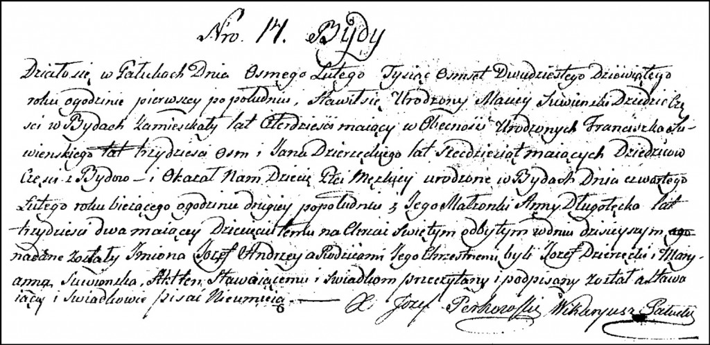 The Birth and Baptismal Record of Józef Andrzej Suwiński – 1829