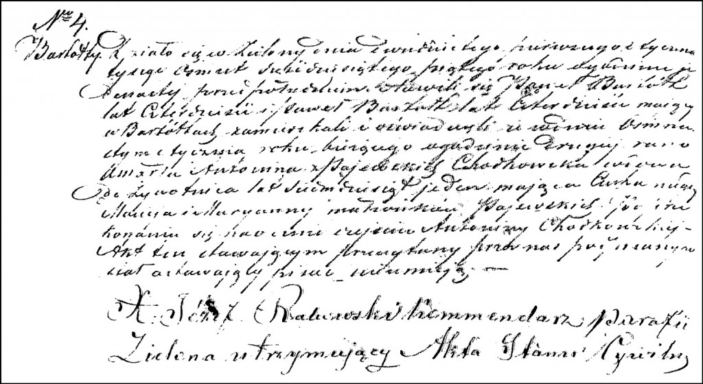 The Death and Burial Record of Antonina née Pajewska Chodkowska – 1865