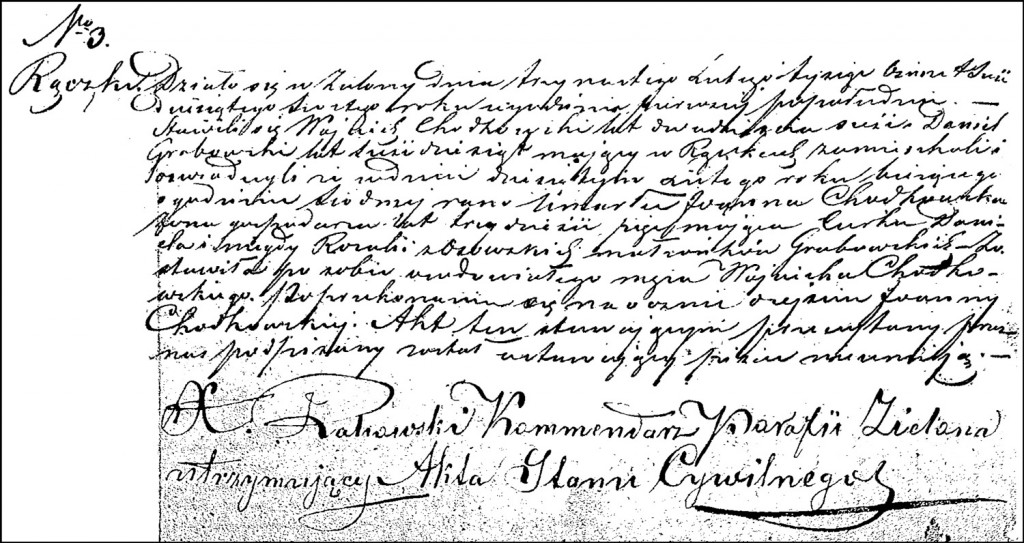 The Death and Burial Record of Joanna née Grabowska Chodkowska – 1866