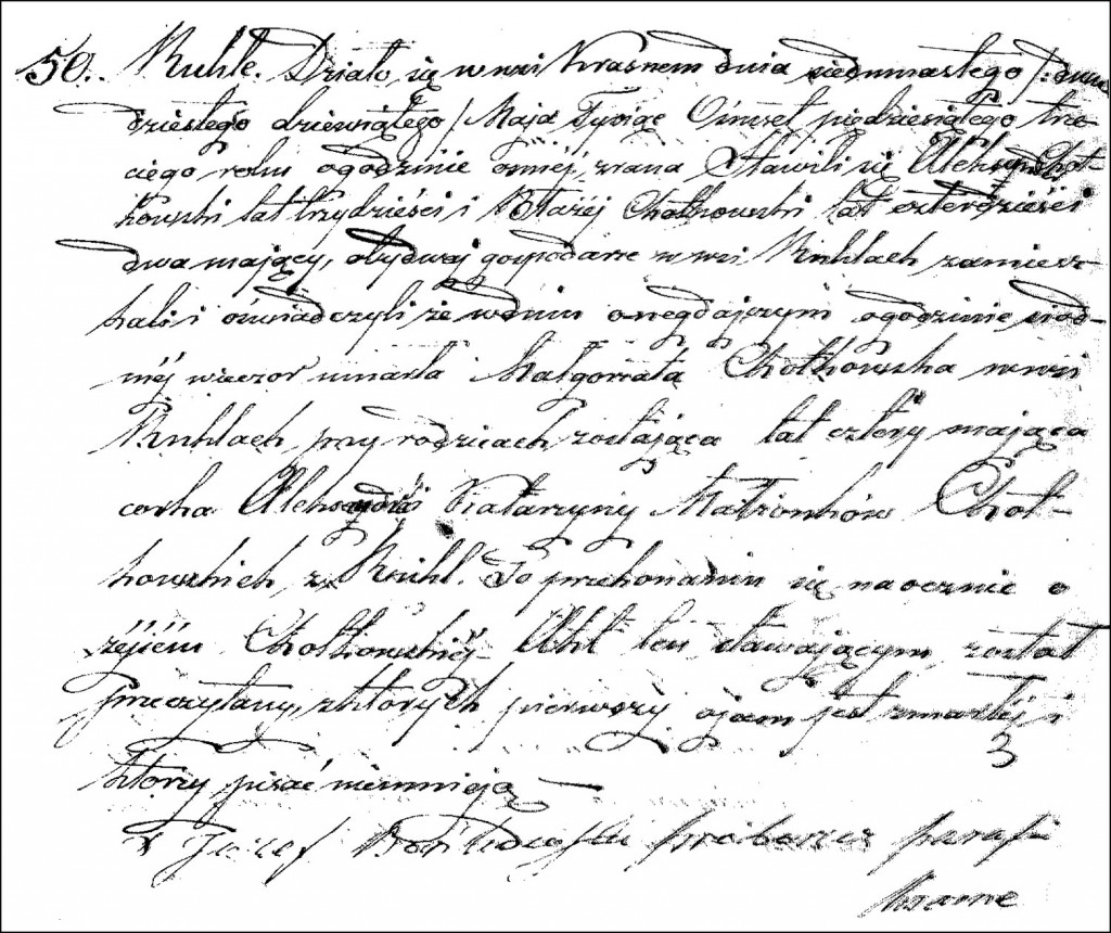 The Death and Burial Record of Małgorzata Chodkowska – 1853