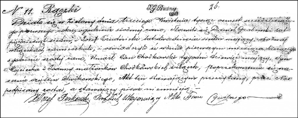 The Death and Burial Record of Jan Chodkowski – 1861