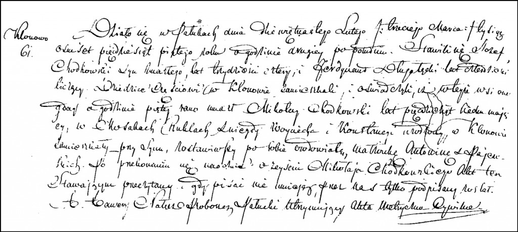 The Death and Burial Record of Mikołaj Chodkowski – 1855