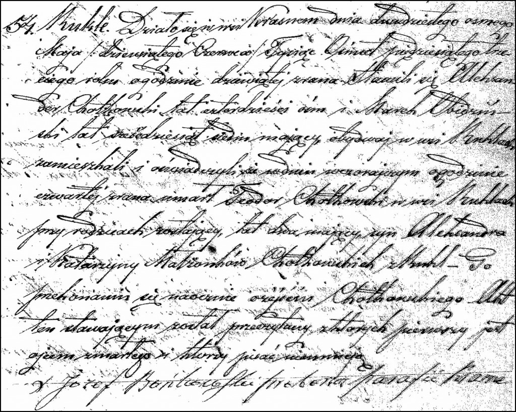 The Death and Burial Record of Teodor Chodkowski – 1853