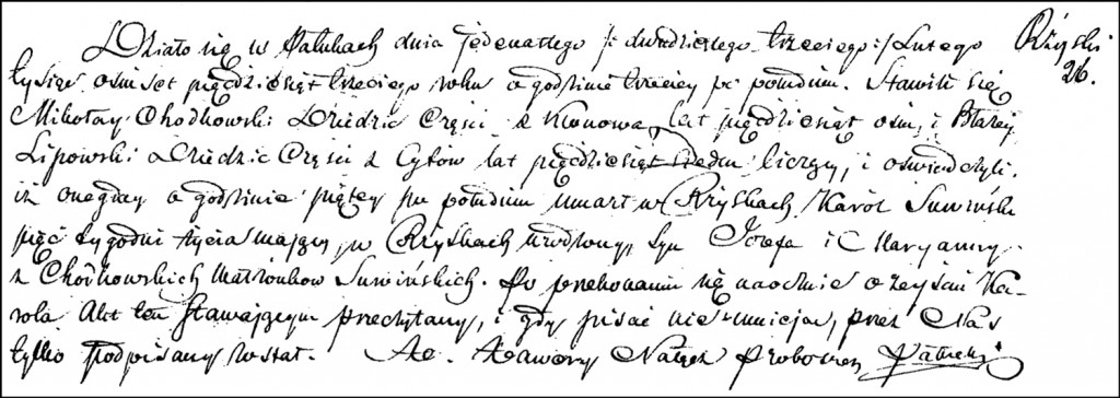 The Death and Burial Record of Karol Marian Suwiński – 1853