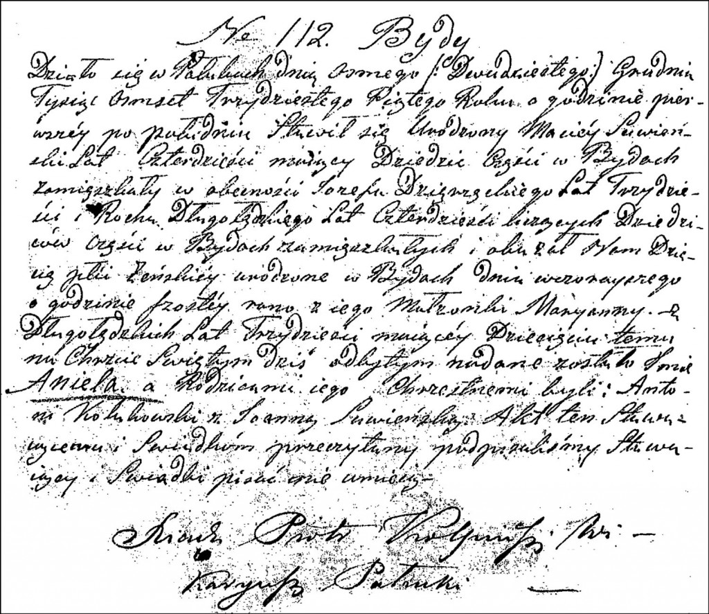 The Birth and Baptismal Record of Aniela Suwińska – 1835