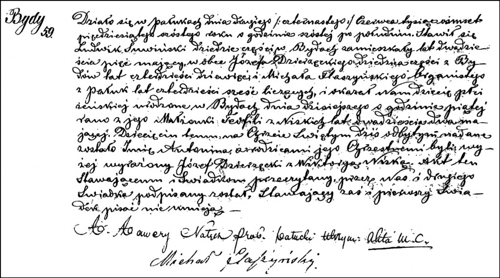 The Birth and Baptismal Record of Antonina Suwińska – 1856