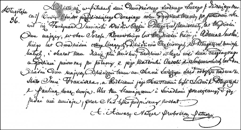 The Birth and Baptismal Record of Franciszka Suwińska – 1852